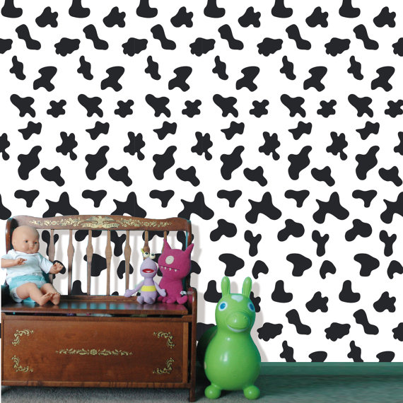 Removable Peel and Stick Fabric Wallpaper  Seamless Cow Pattern Wall 570x570