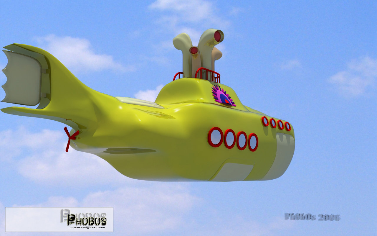 3D Yellow submarine by phobos3d 1280x800