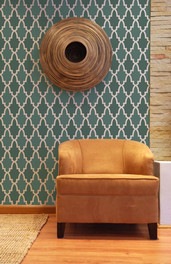 Moroccan design wall stencils   Purodeco 570x878