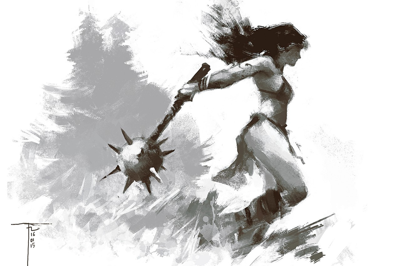 Wallpaper girl weapons background warrior Mace images for 1332x850