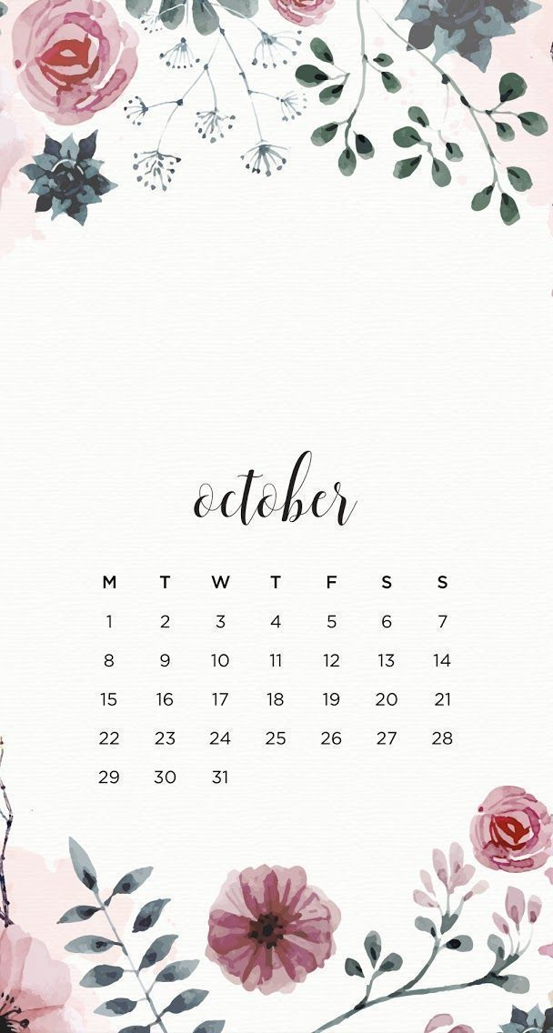 50 Printable October 2020 Calendars with Holidays 608x1136