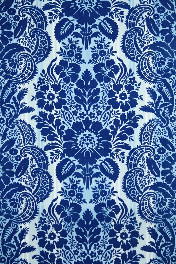 1970s Vintage Wallpaper Royal Blue Flocked by kitschykoocollage 18 570x855