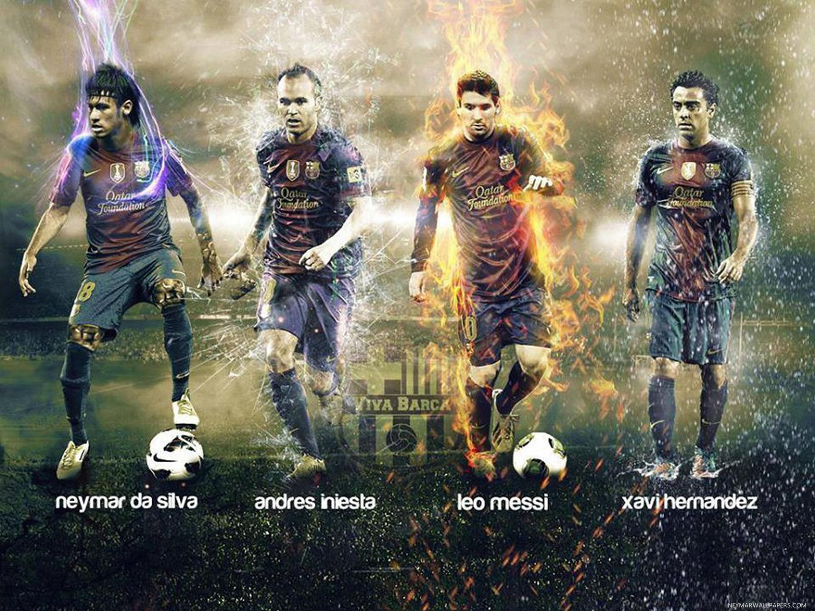 Neymar Iniesta Messi and Hernandez wallpaper   Neymar Wallpapers 1600x1200