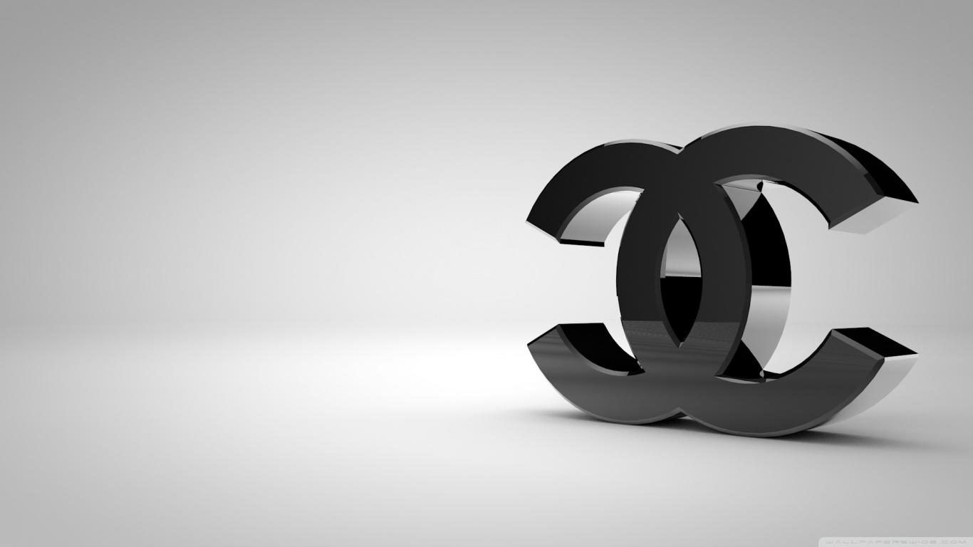chanel logo shiny black wallpaper 1366x768 1366x768