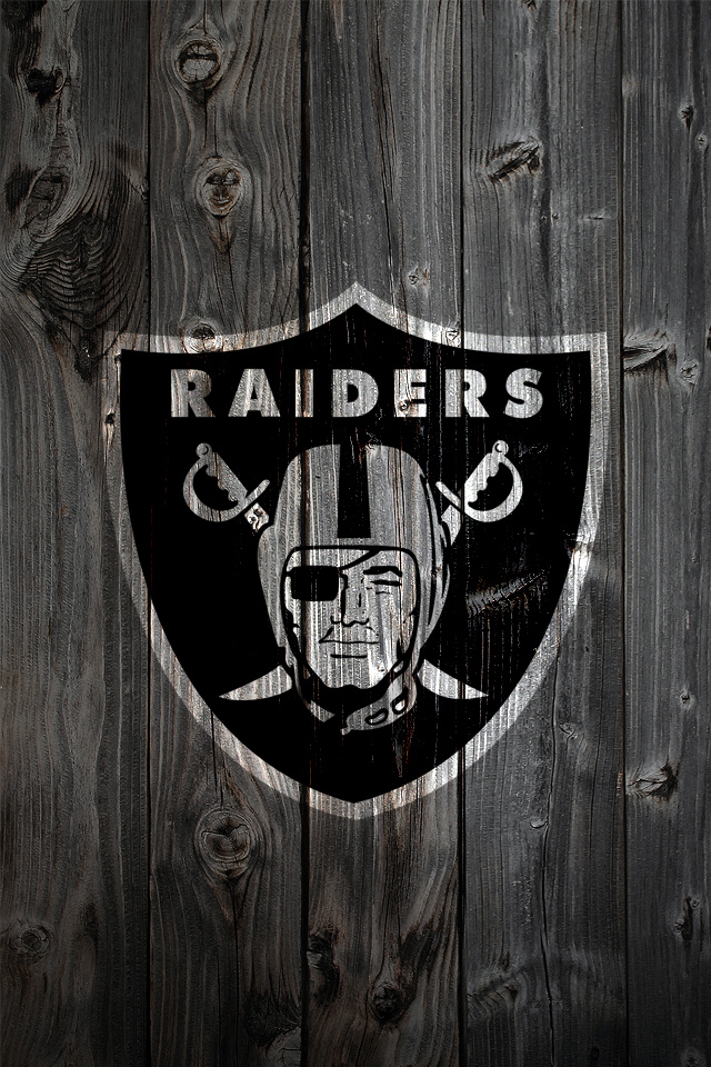 Oakland Raiders Logo on Wood Background   iPhone 4 wallpaper 640x960