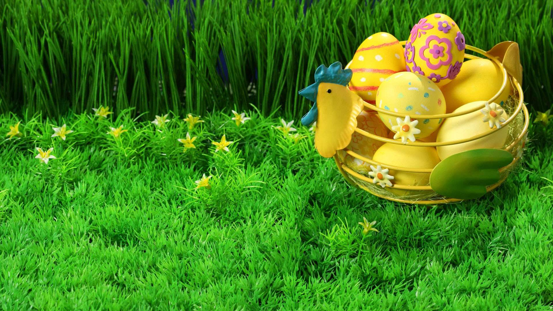 Painted Easter Eggs in a Basket in Grass HD Wallpaper 1920x1080