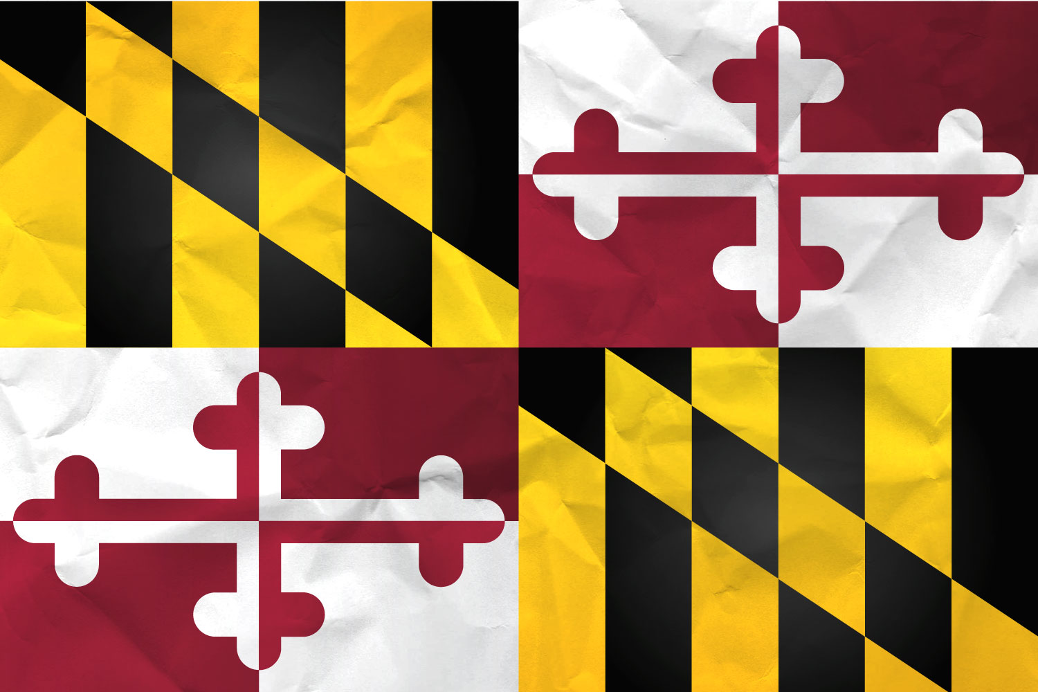 Flag of Maryland Realistic Paper Texture on Marylanders Flag 1500x1000