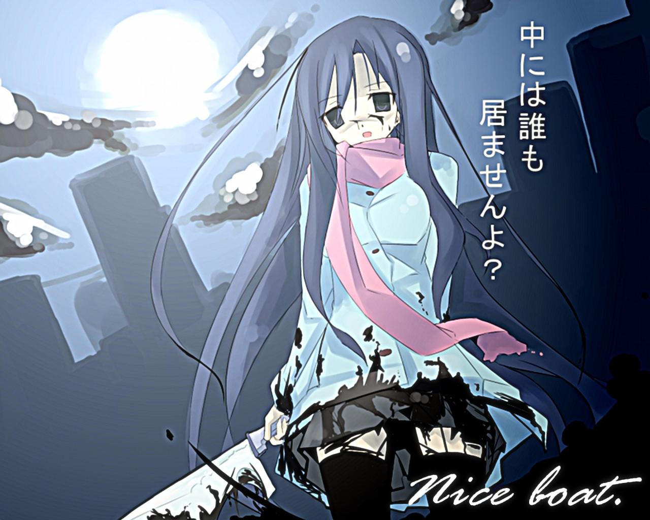 blood katsura kotonoha moon scarf school days sword thighhighs 1280x1024