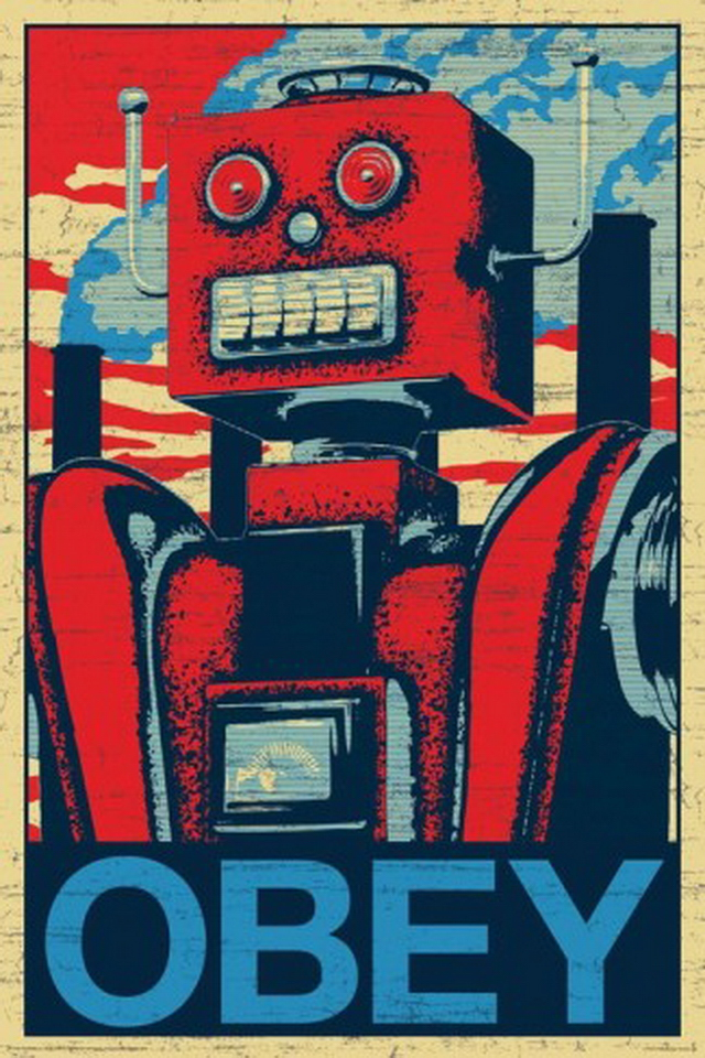Robot Obey iPhone 4 Wallpaper Wallpapers Photo 640x960