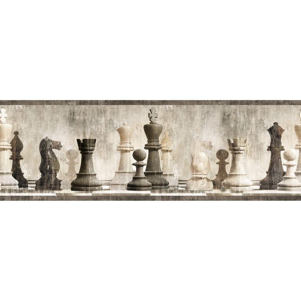 Chesapeake Albert Grey Chess Wallpaper Border Sample MAN01842BSAM 1000x1000