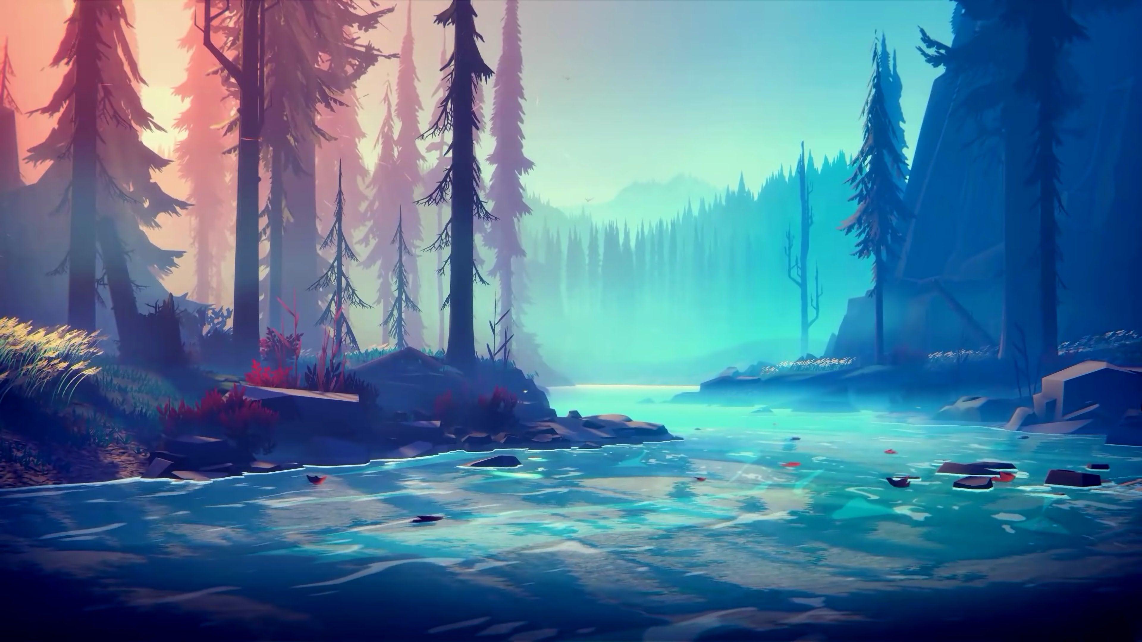 Minimalist Forest River Wallpaper [3840x2160] wallpaper 3840x2160