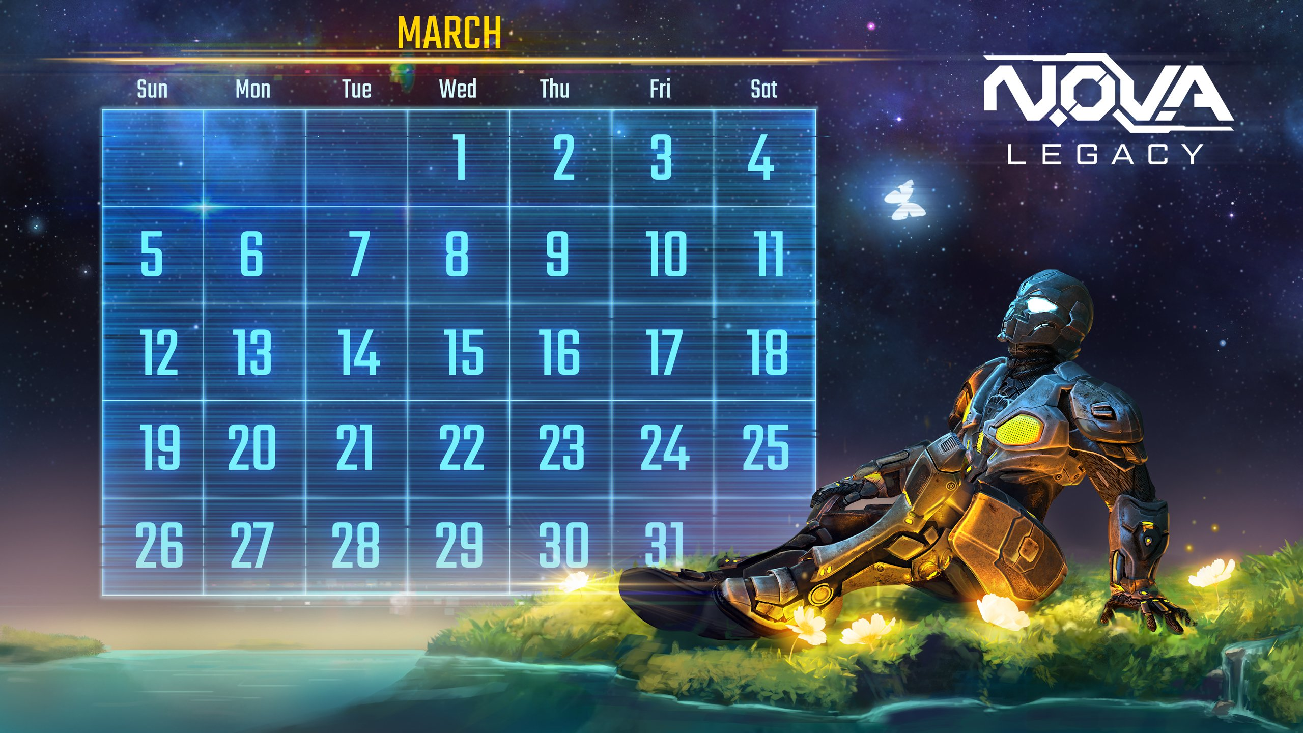 Download NOVA Legacy calendar and wallpaper March   Gameloft 2560x1440
