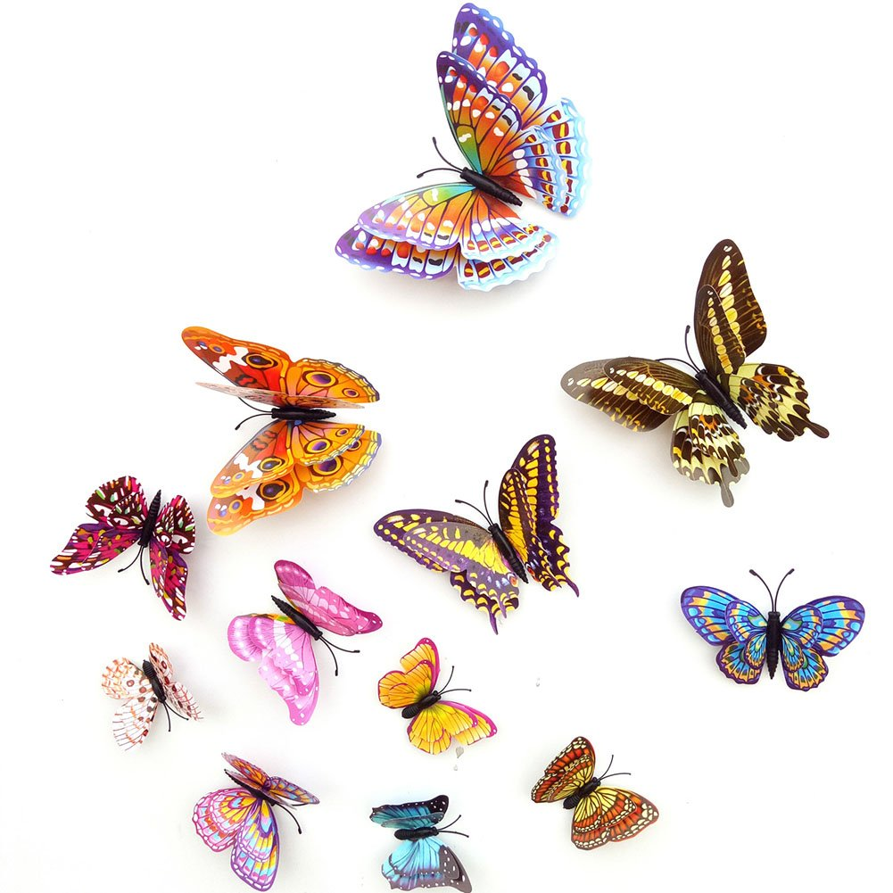 Cianowegy 12 pcs Double Layer 3D Crystal Butterfly Wall Stickers 1001x1001