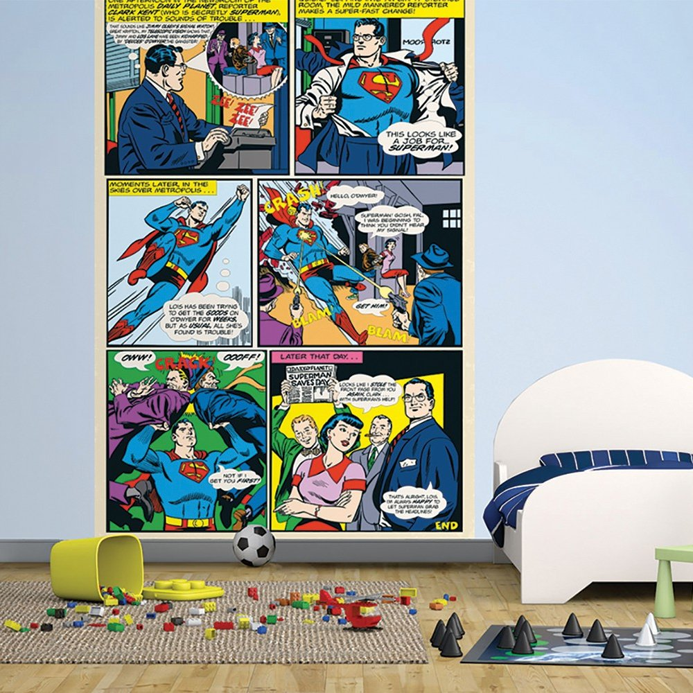 Wall Easy Hang Wallpaper Mural Superman DC Comic Panel 158m X 232m 1000x1000