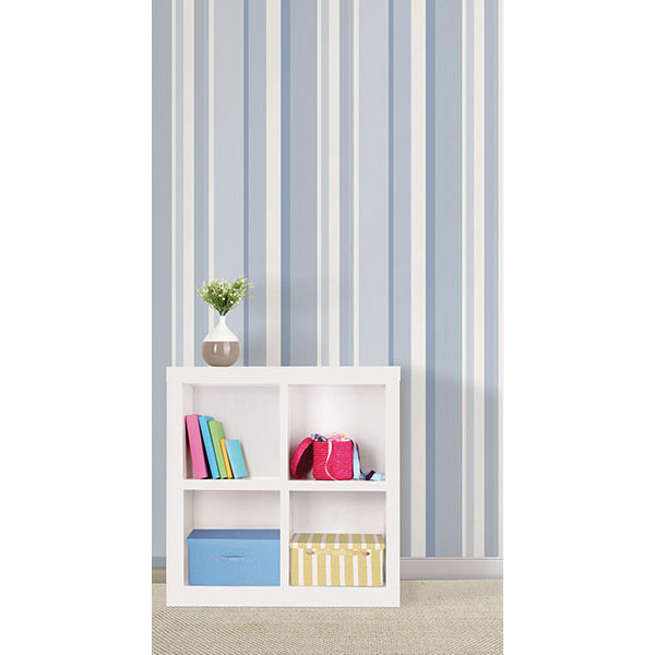 Blue Awning Stripe Peel And Stick Wallpaper   By NuWallpaper 600x600