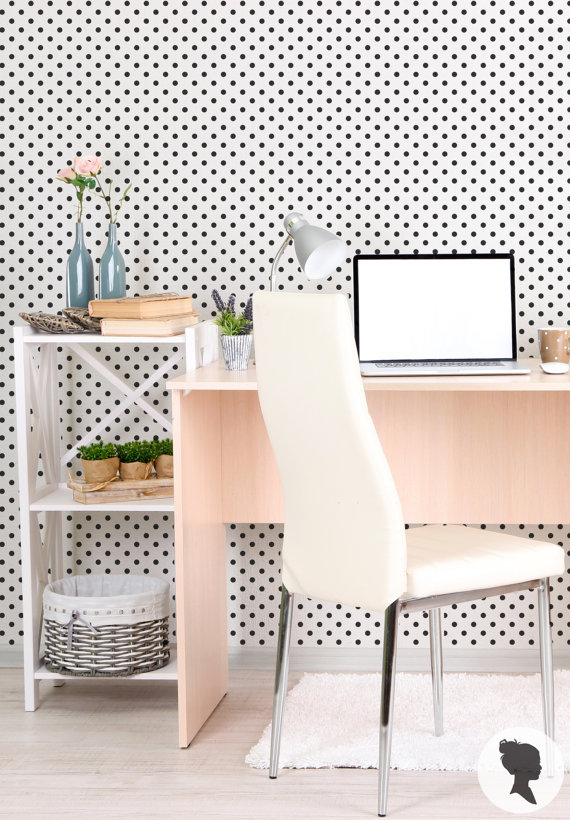 Polka Dot Pattern Self Adhesive Removable Wallpaper by Livettes 570x820