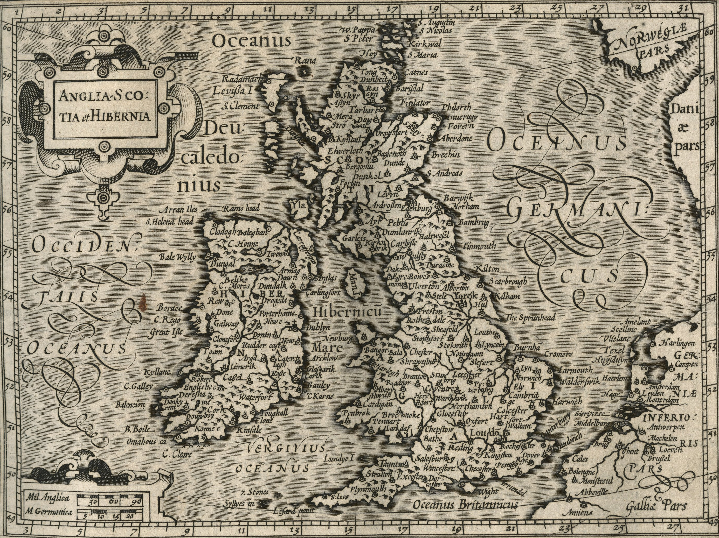 Old Latin map of the British Isles HD Wallpaper Background Image 2772x2076