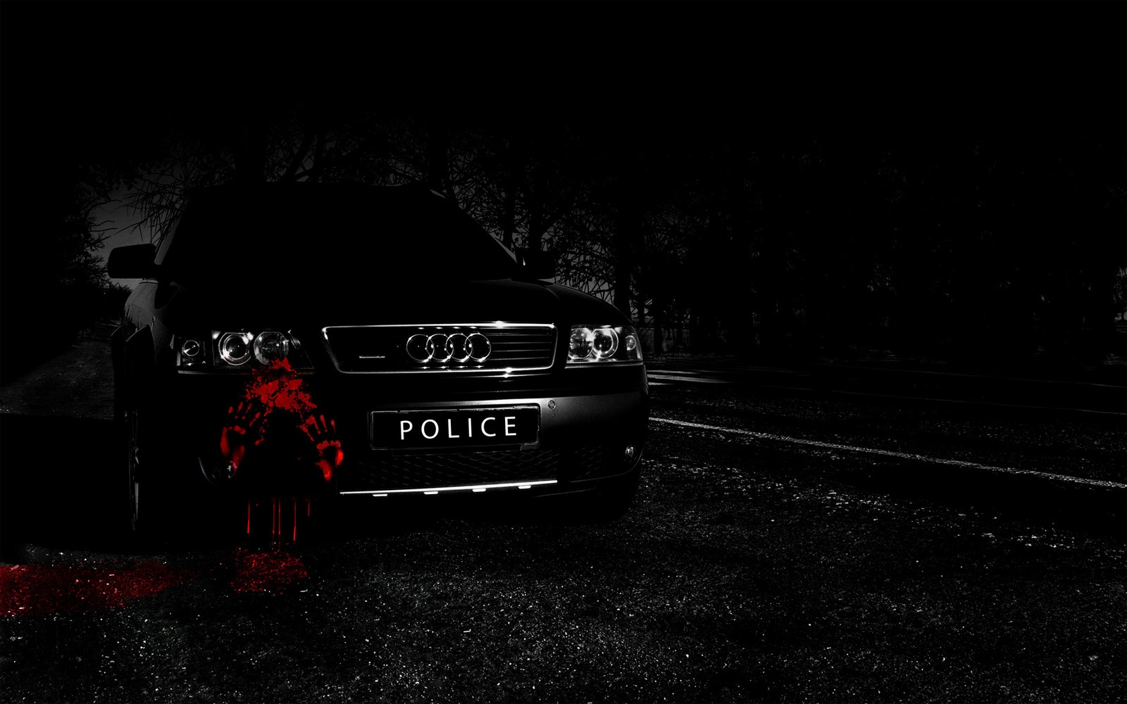 WongSeng HD Wallpapers Wallpaper HD Black Police Car Blood 1600x1000