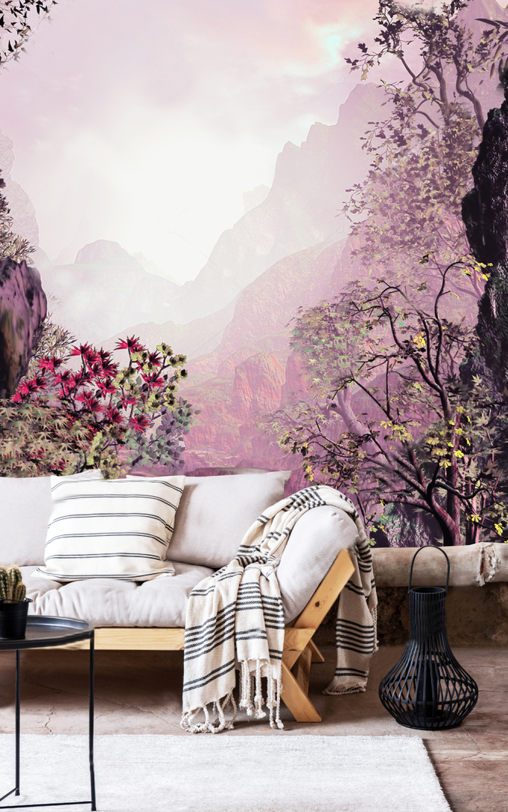 Wallpaper Landscape in pink Mountain in Fog Adhesive Vinyl 1001x1600