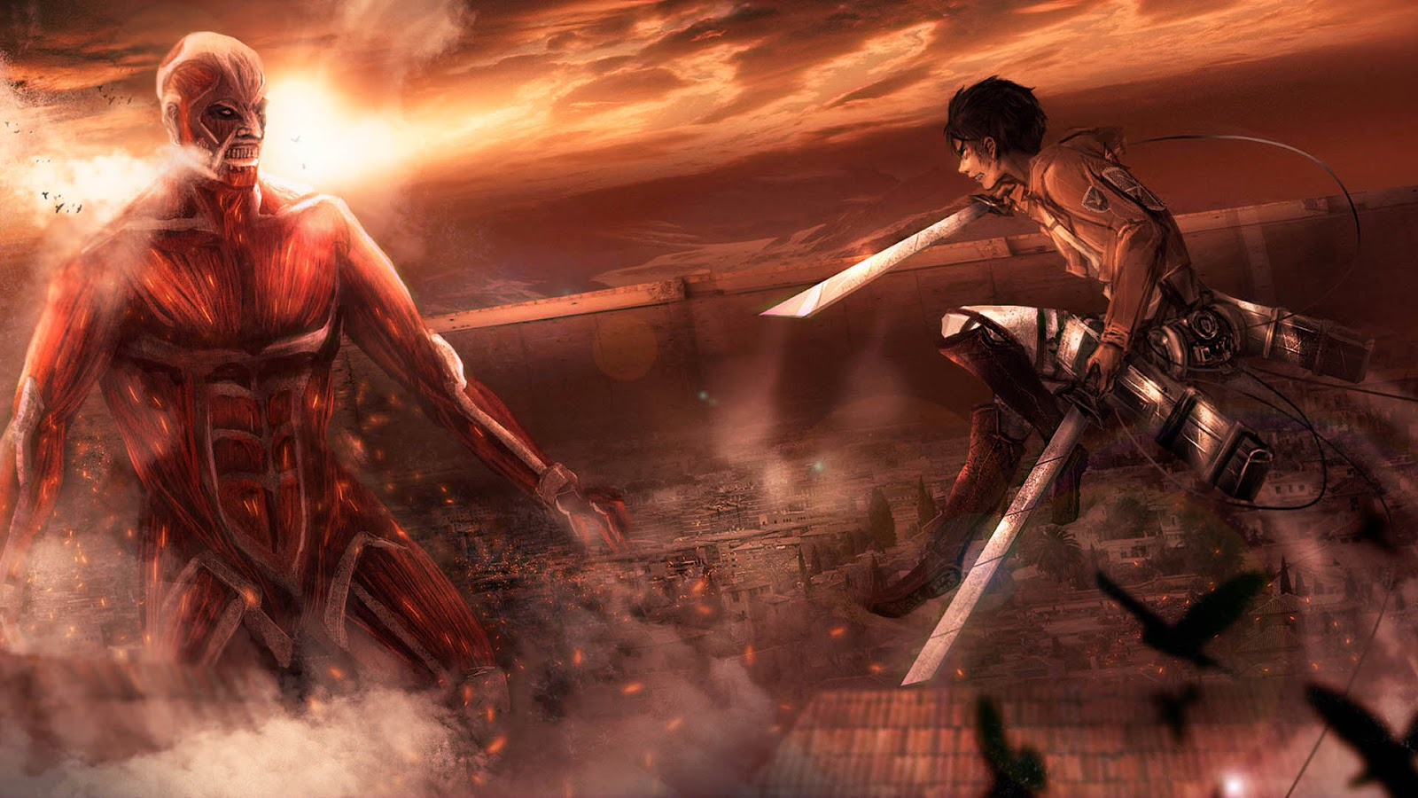 colossal titan eren yeager jaeger attack on titan shingeki no kyojin 1600x900