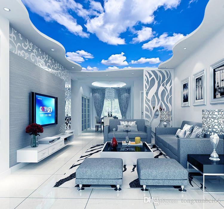 Compre Cielo Azul Nube Blanca Wallpaper Mural Sala De Estar 750x699