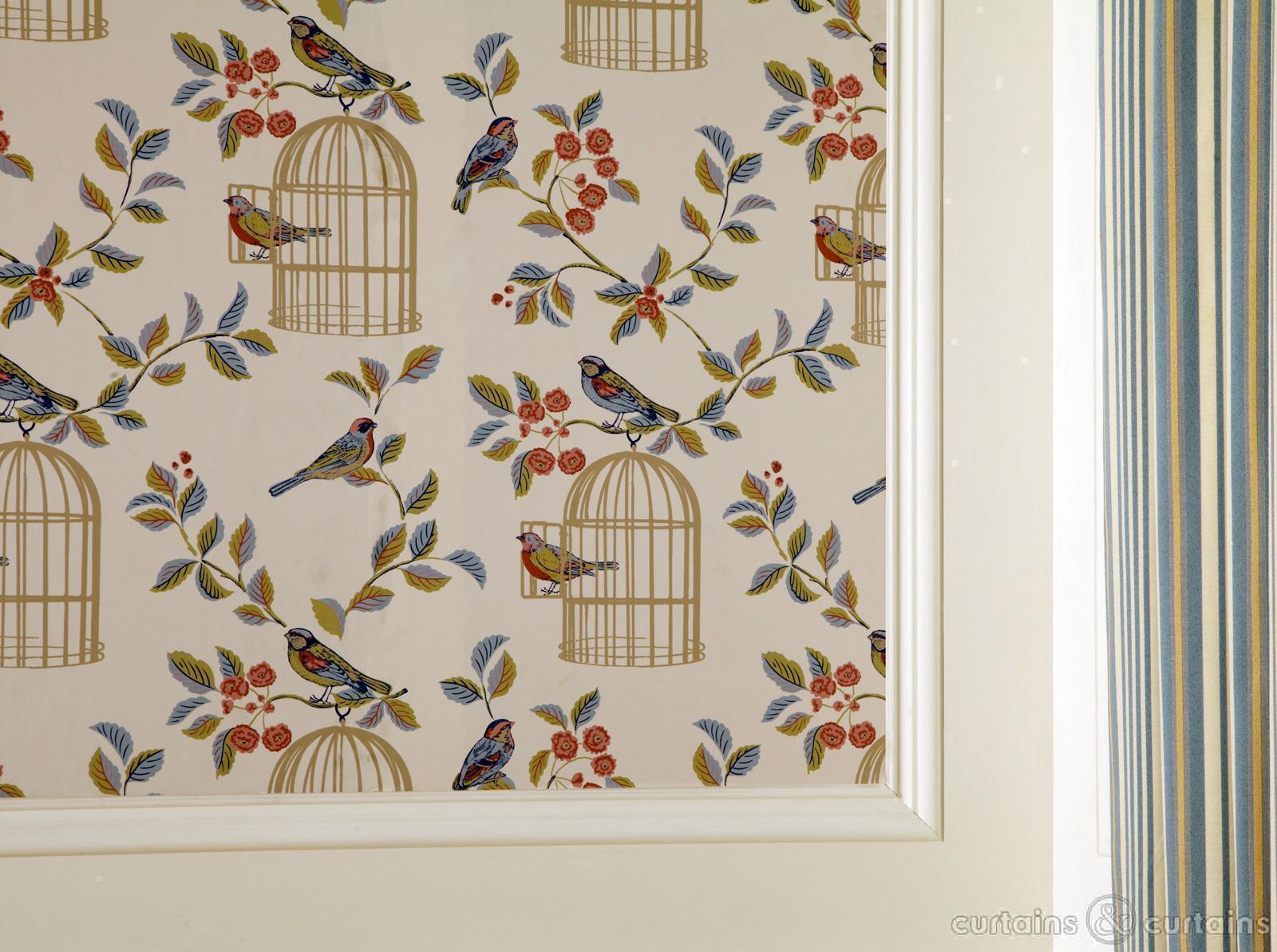 Vintage Charm Blue Bird Cage Wallpaper   Bird Wallpaper UK 1600x1192