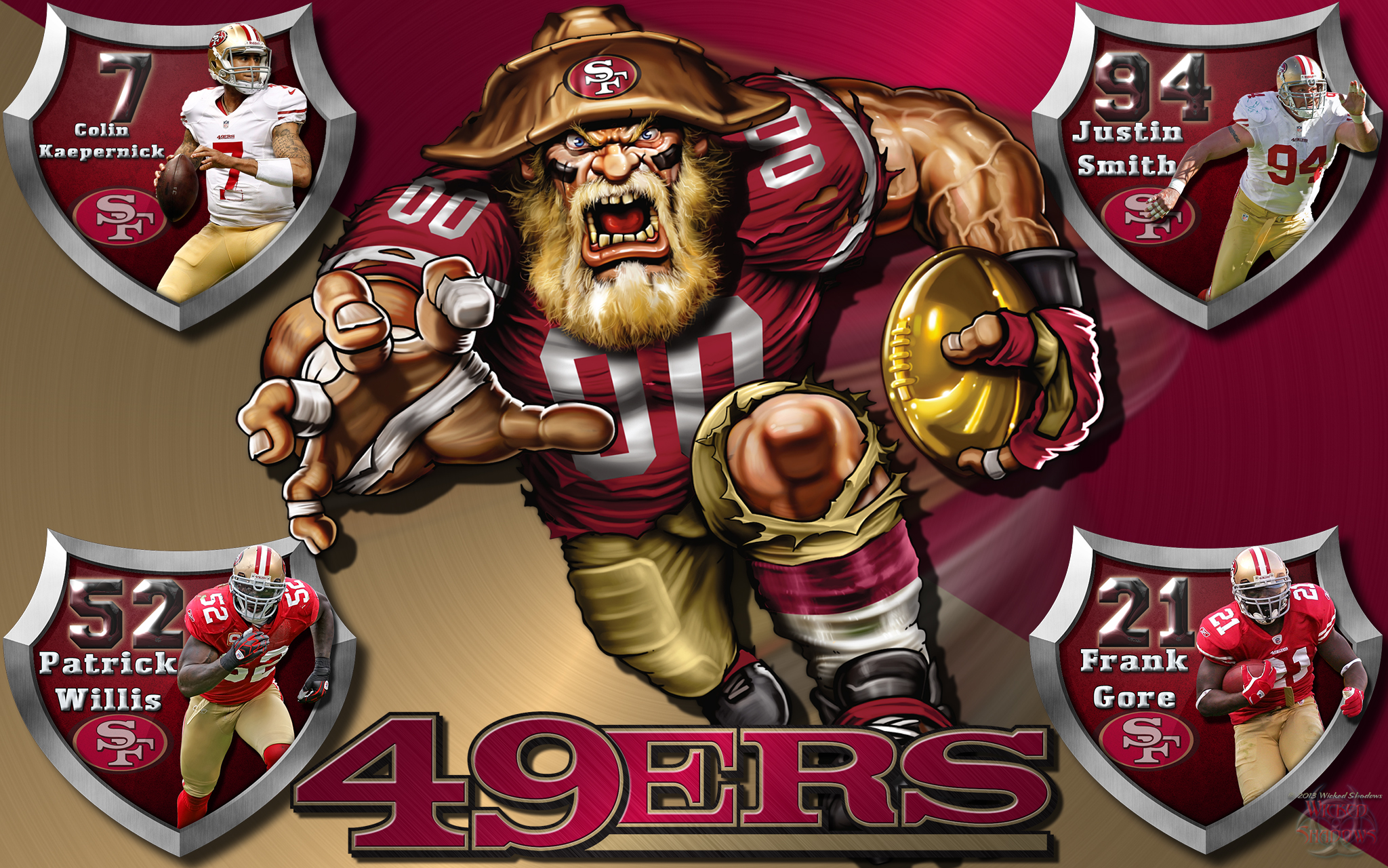 Wallpapers By Wicked Shadows 49ers Crazy Logo Shield Players 2048x1280