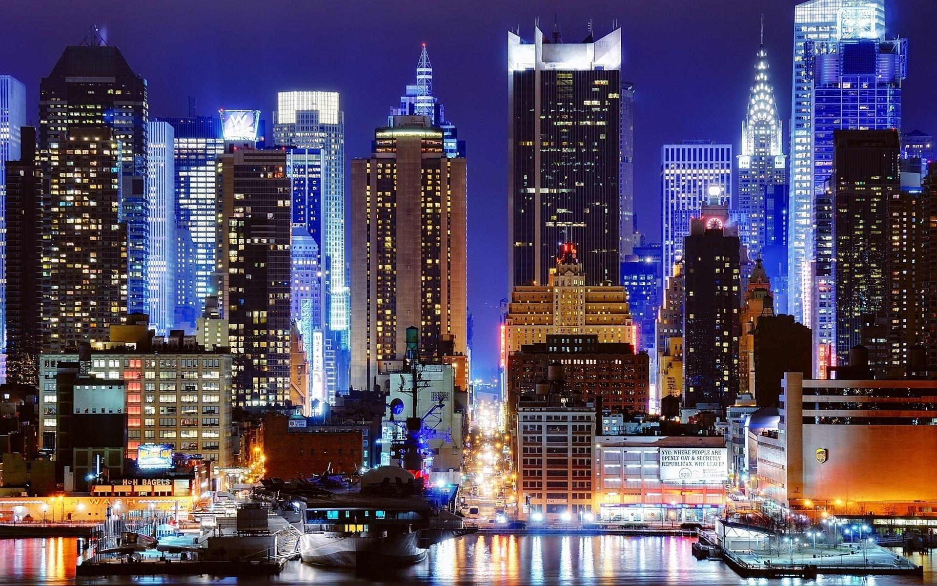 New York blue city light new york night 1920x1200
