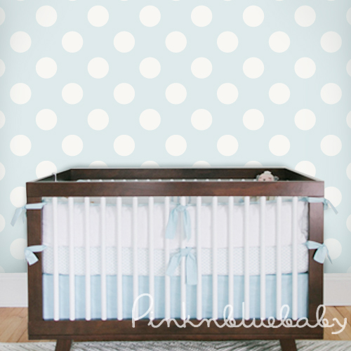 Polka Dot Off White Blue Removable Wallpaper pinknblueBaby 500x500