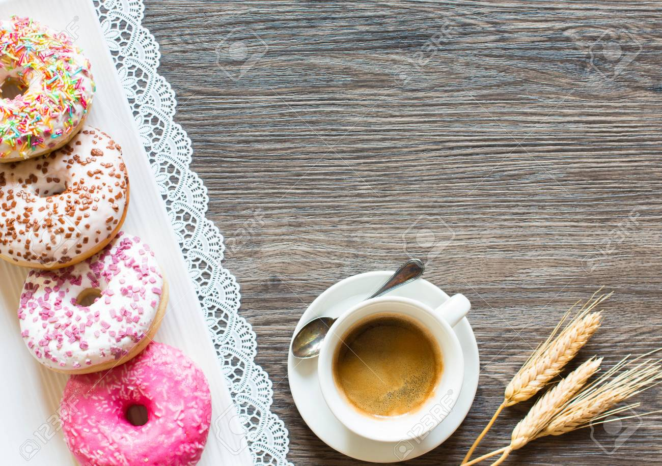 Morning Breakfast With Colorful Donuts And Expresso Coffee On 1300x916