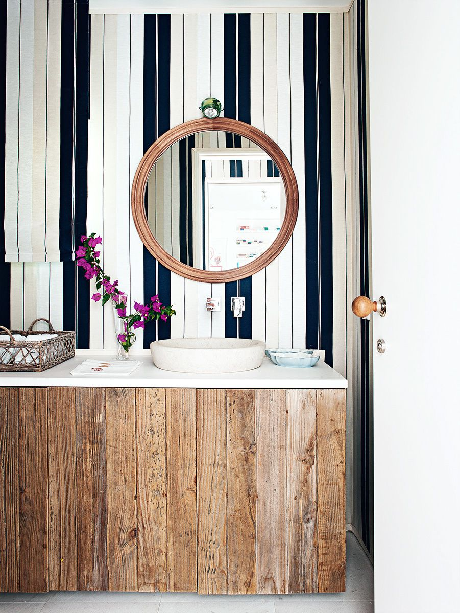 Bathroom vertical masculine stripes wallpaper 901x1200