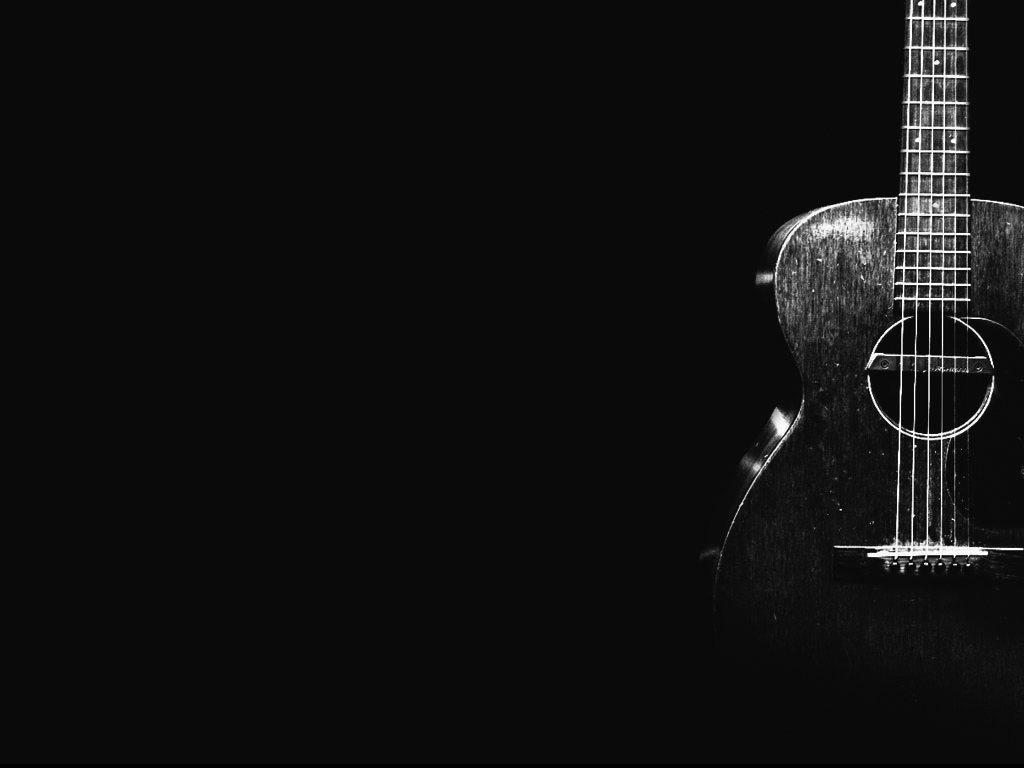 Acoustic Guitar Wallpaper Black And White Images 1024x768