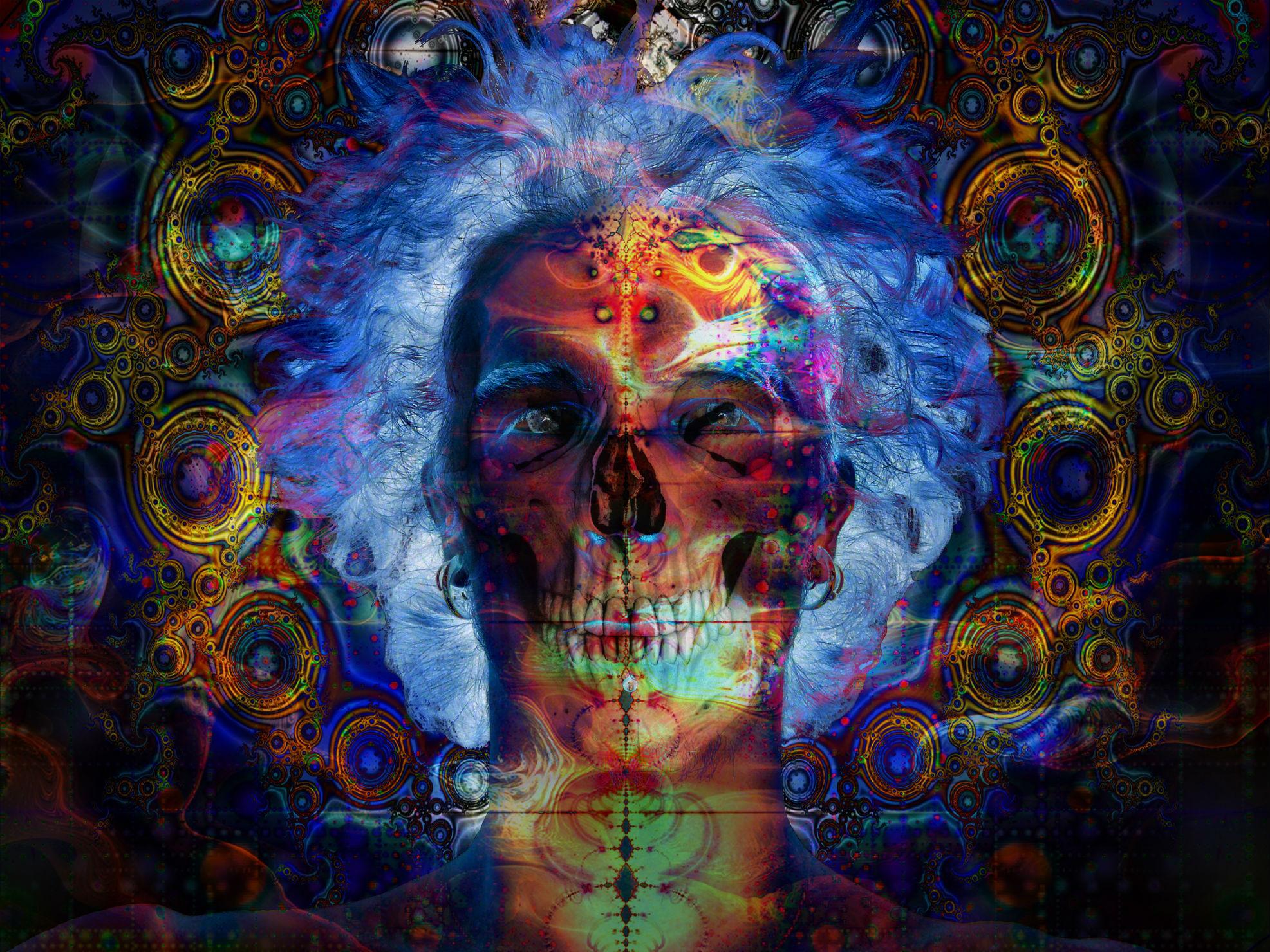 Artistic   Psychedelic Skull Dark Trippy Skull Wallpaper 1973x1480
