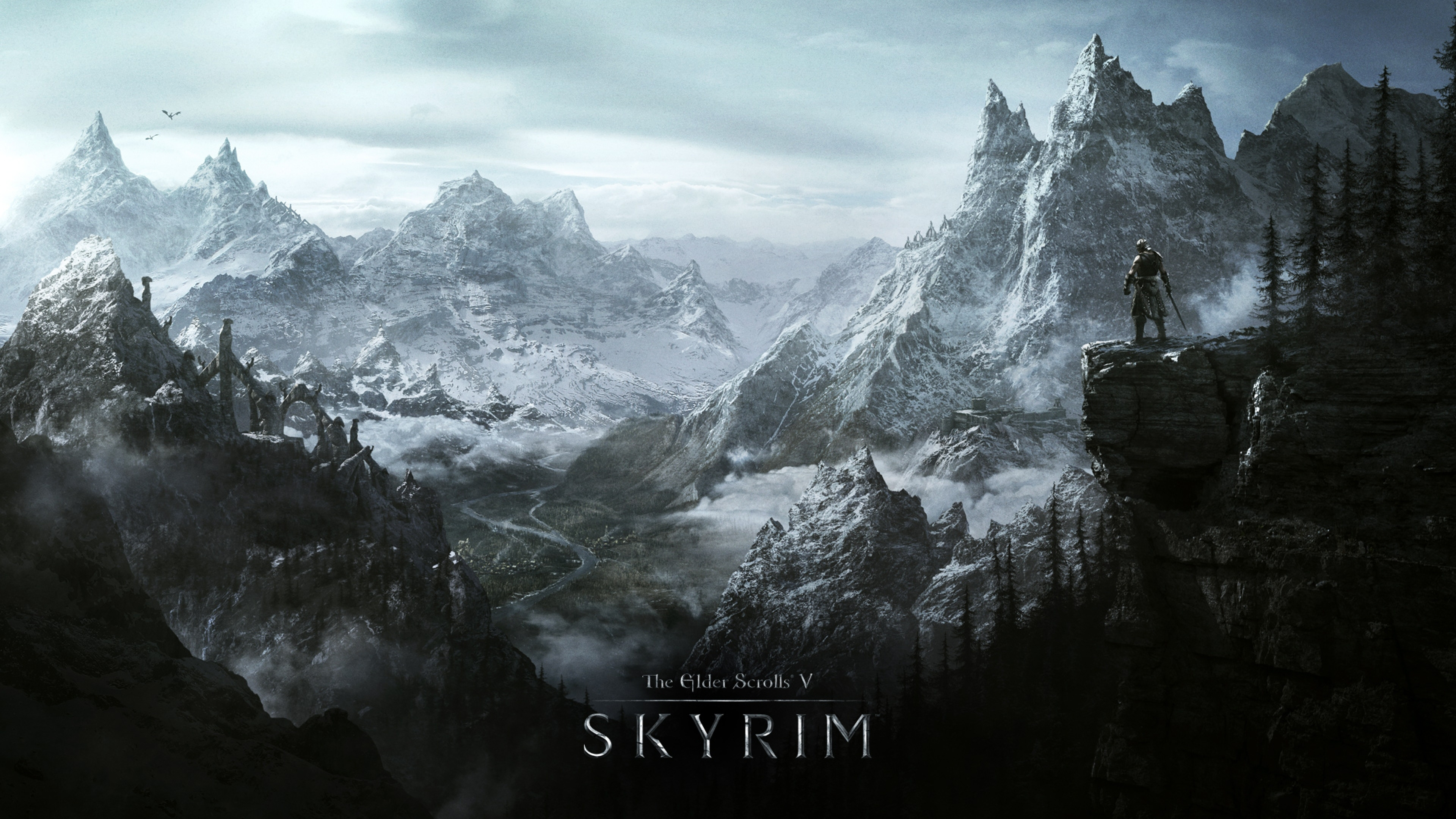 Skyrim World Rocks Winter Cold The elder scrolls v skyrim 4K 3840x2160