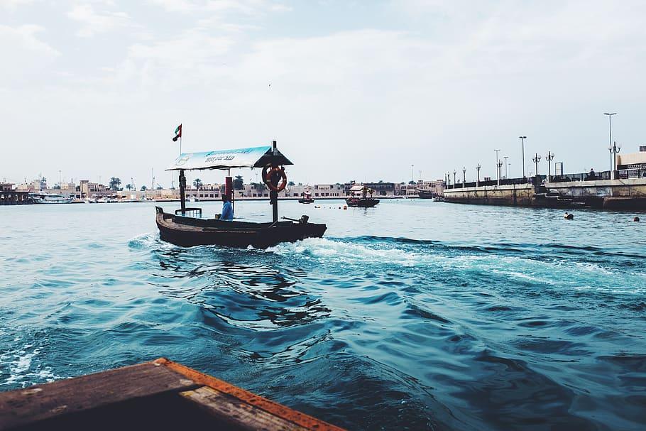 HD wallpaper dubai dubai creek united arab emirates boat abu 910x607
