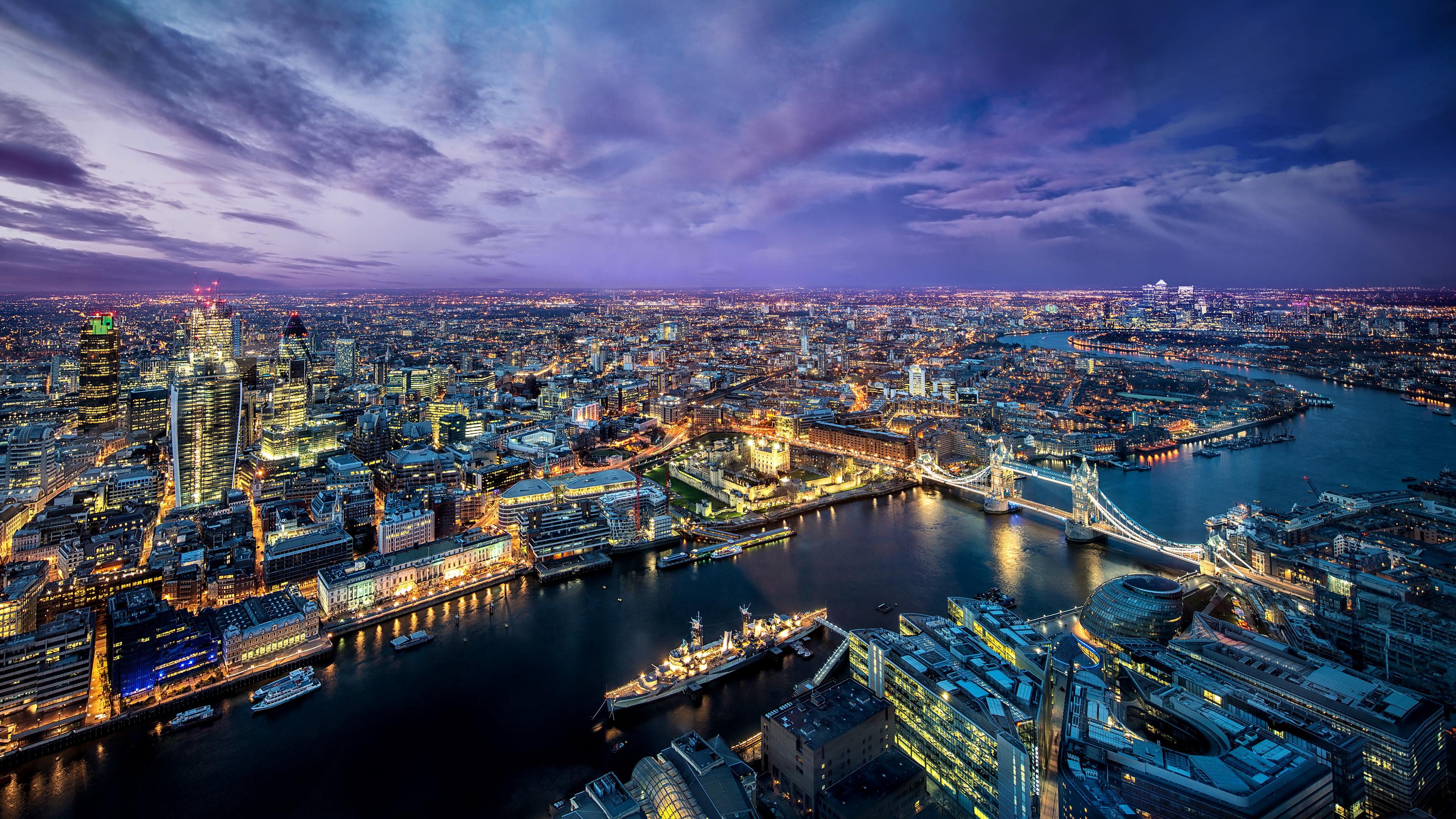 Downtown London Nightime Wallpaper 4k Desktop Backgrounds 3840x2160