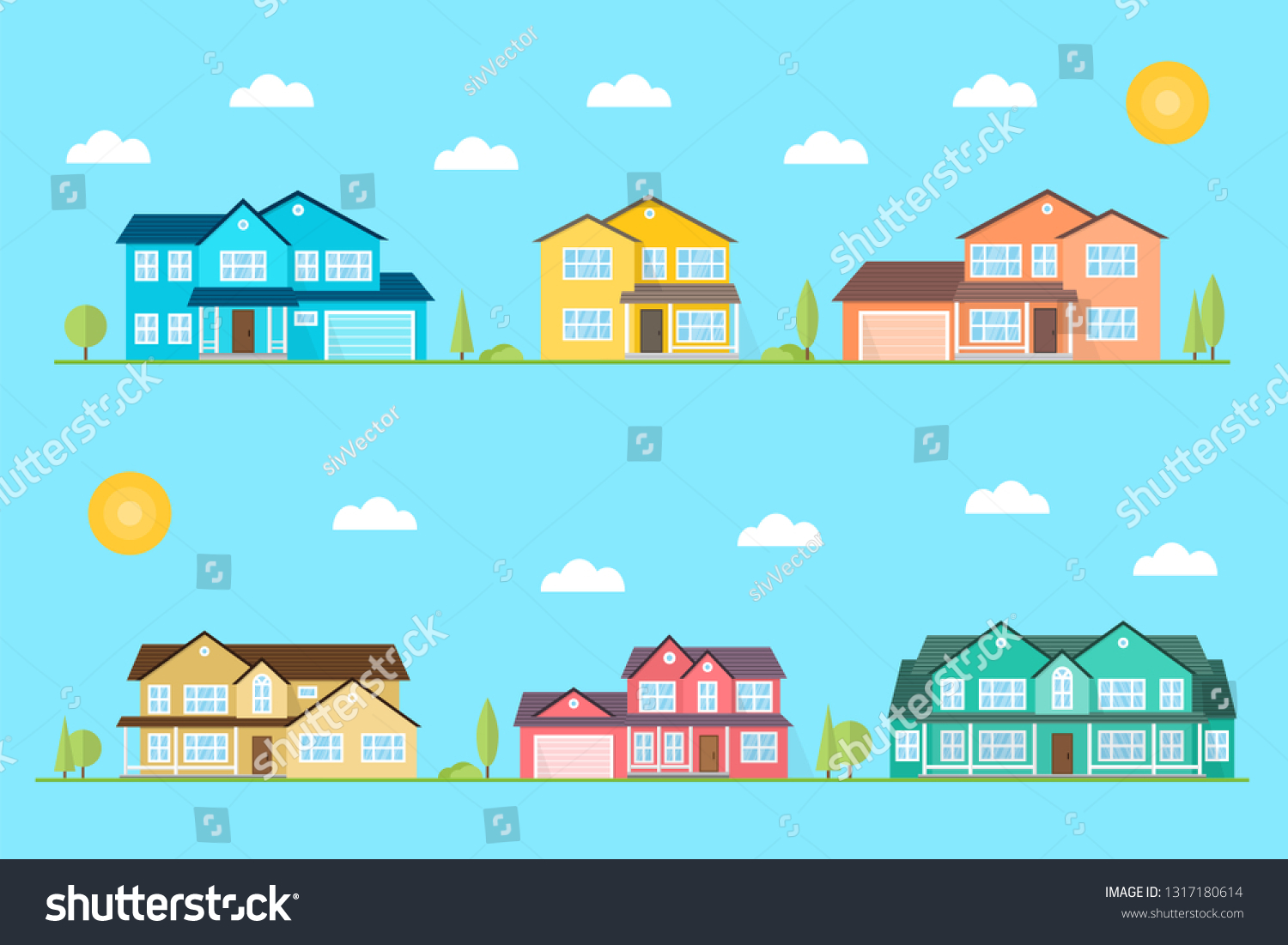 Neighborhood Homes Illustrated On Blue Background Stock Vector 1500x1101
