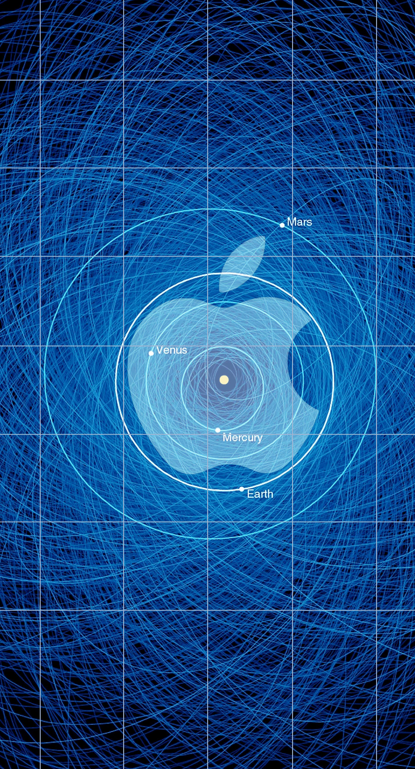Apple logo shelf cool blue solar system wallpapersc iPhone7Plus 1398x2592
