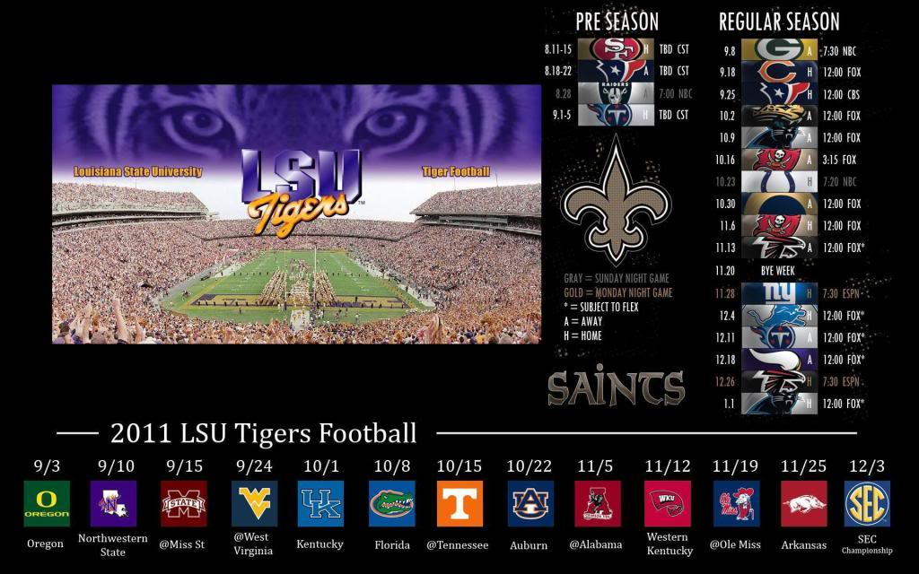 LSU Saints schedule wallpaper TigerDroppingscom 1024x640