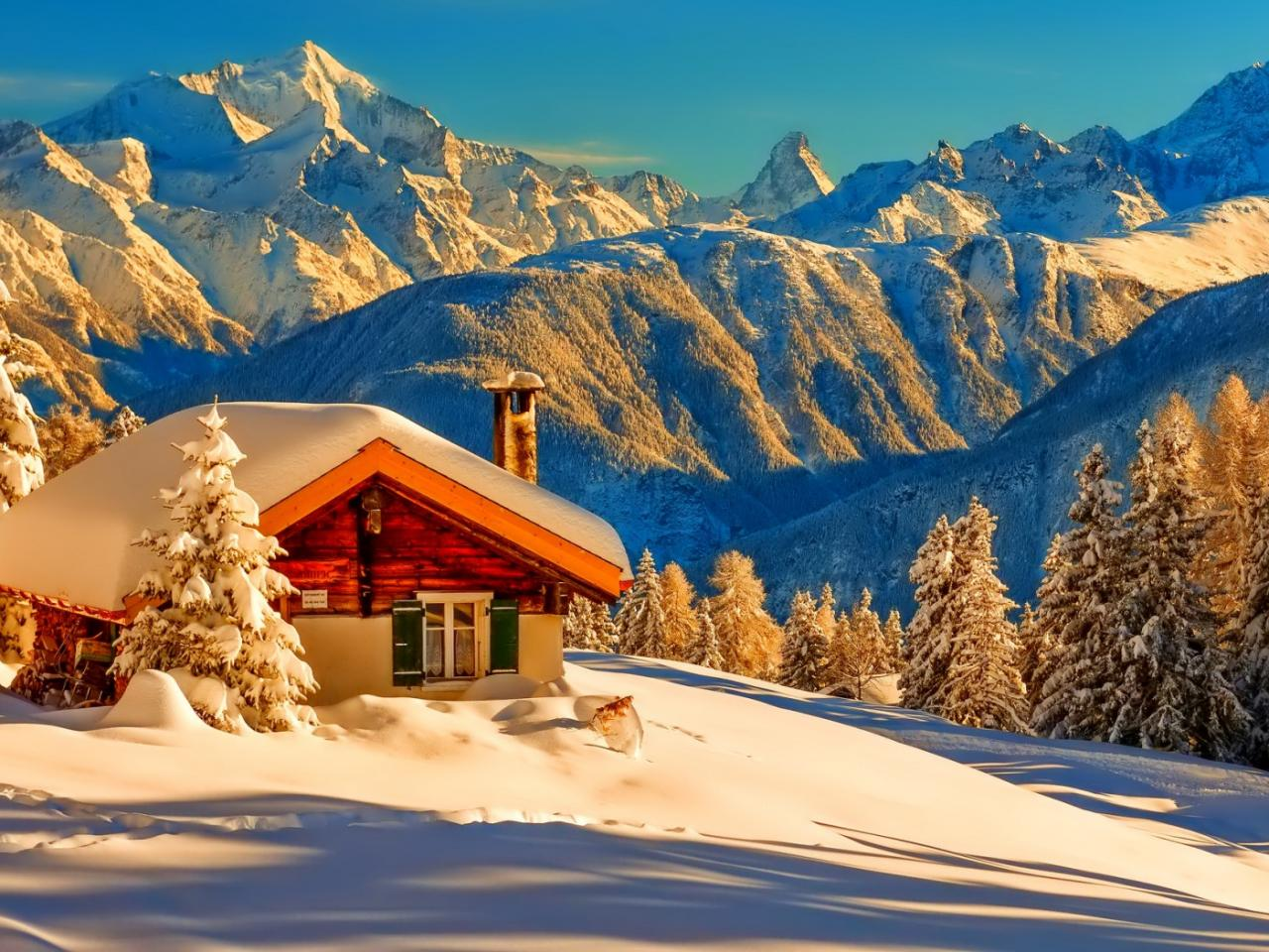 Snow Covered Log Hut in Mountains Cool Wallpapers 1280x960
