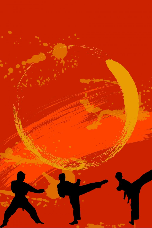 Red Ink Brush Stroke Vector Taekwondo Poster Background Children 960x1440