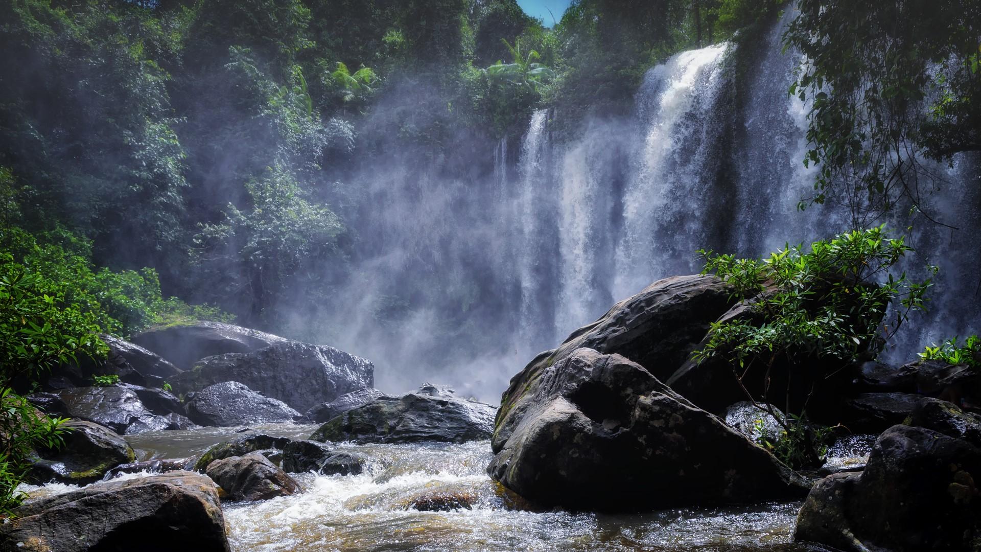Waterfall on Phnom Kulen Siem Reap Cambodia Windows 10 1920x1080