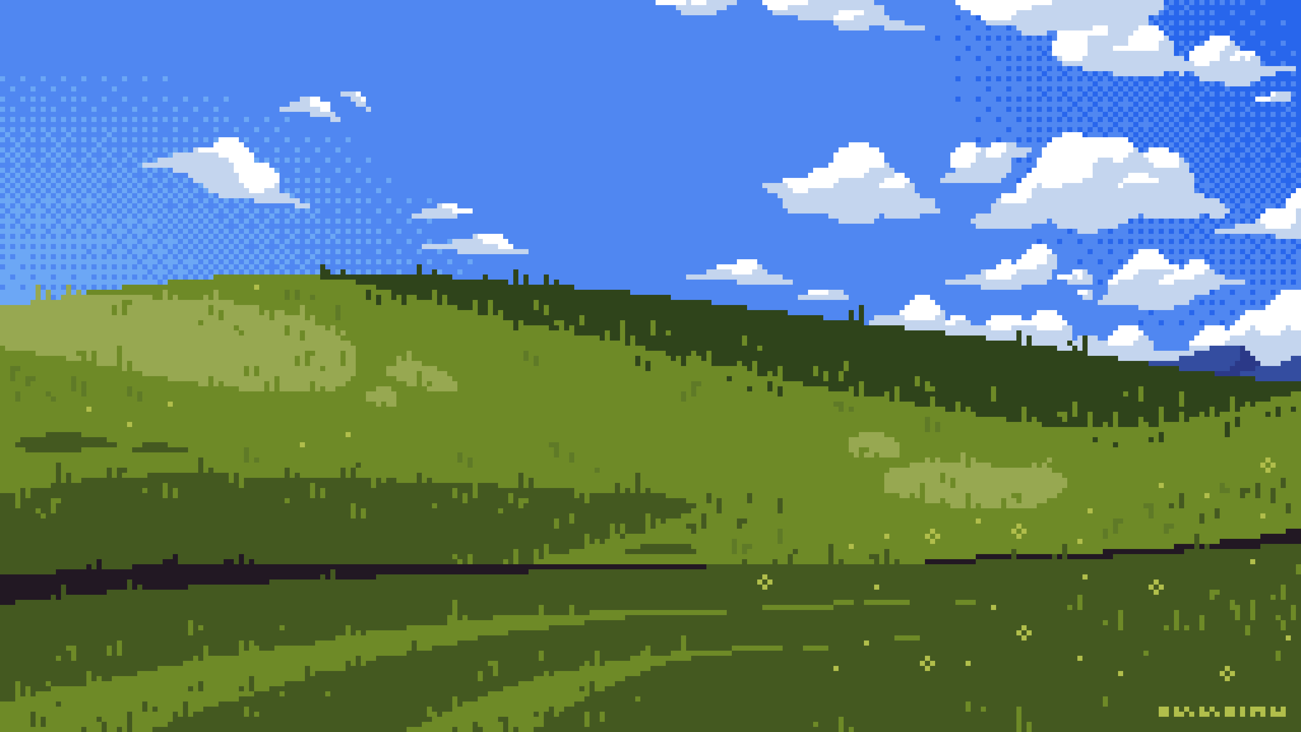 OC] Windows XP Wallpaper PixelArt 2560x1440