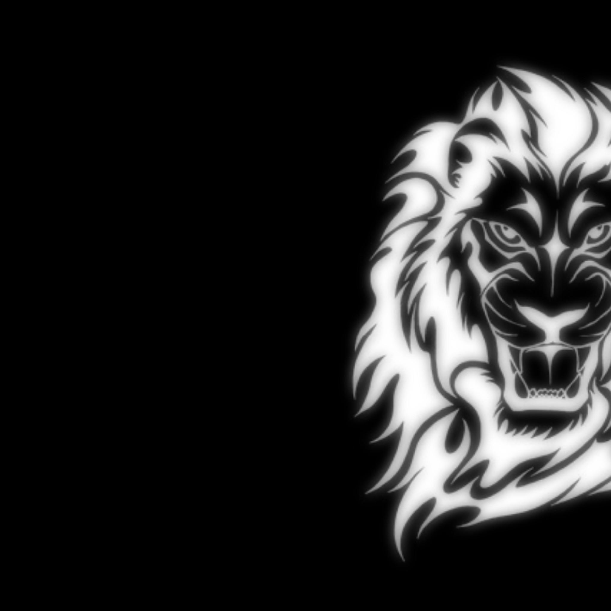 glowing lion art black cg computer glowing light lion white 2048x2048 2048x2048