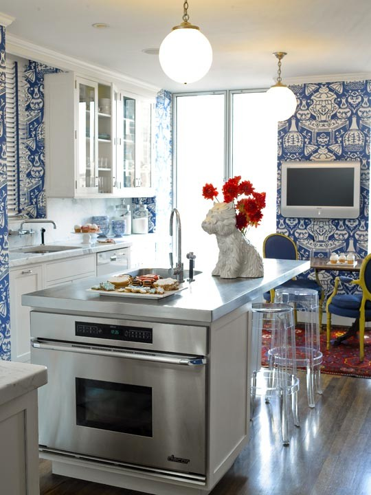 Aesthetic Oiseau Blue and White Wallpaper Kitchens 540x720