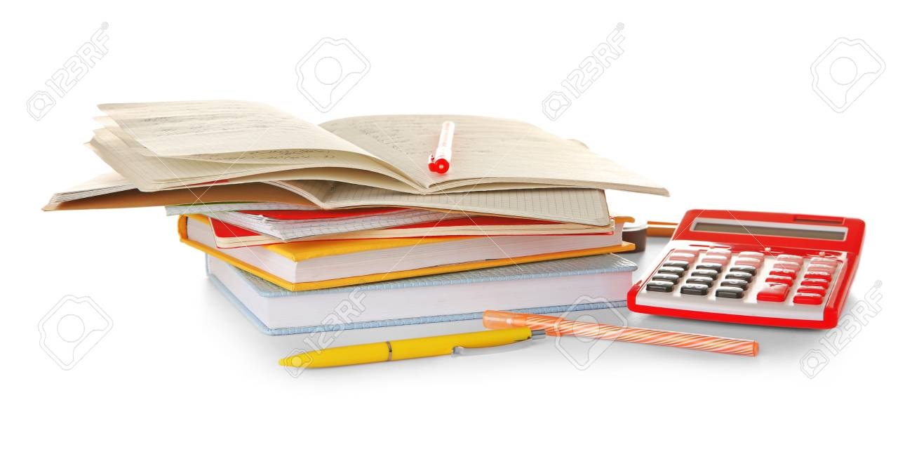 Stack Of Books And Stationery On White Background Doing Homework 1300x647