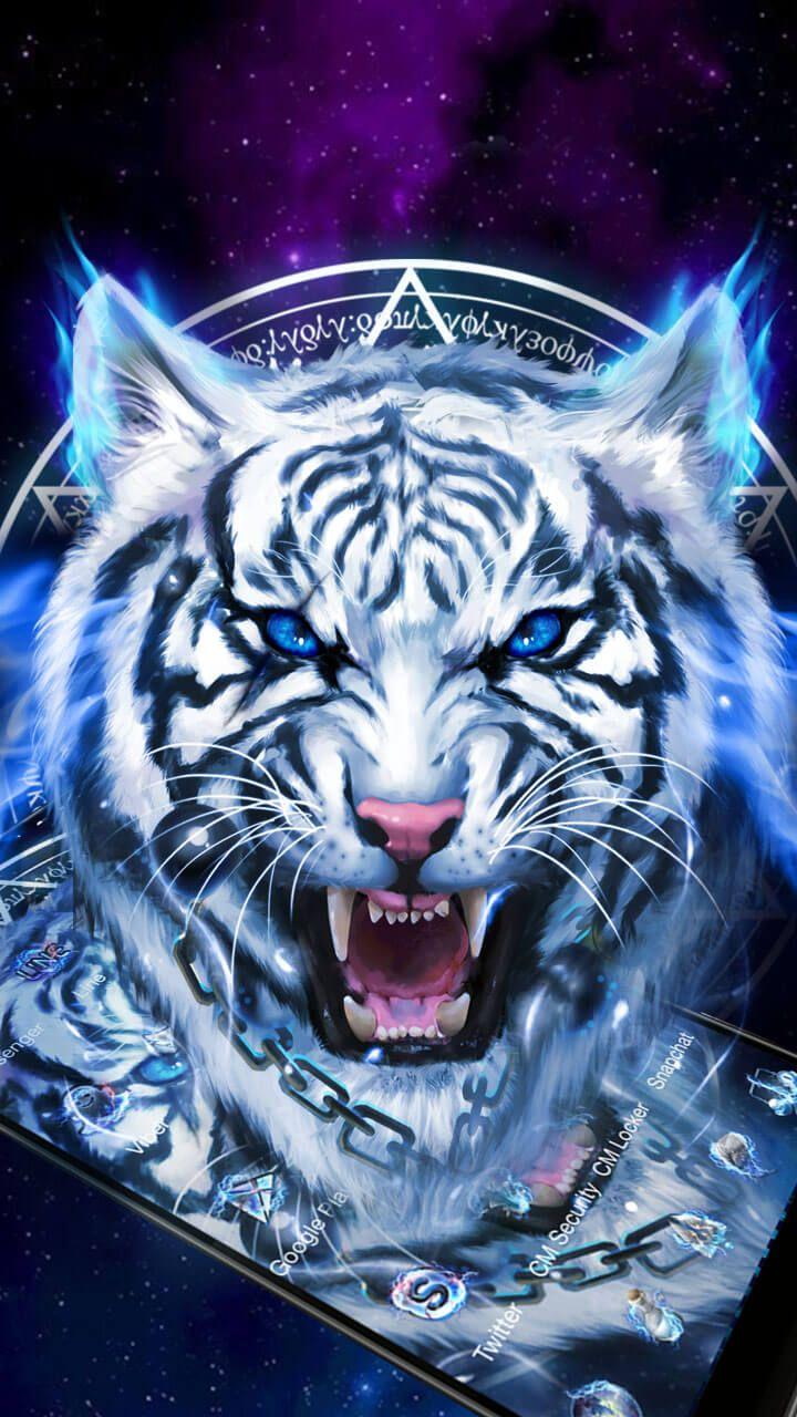 FEARLESS Ice Neon Tiger Wallpaper Theme Wildlife Tiger 720x1280