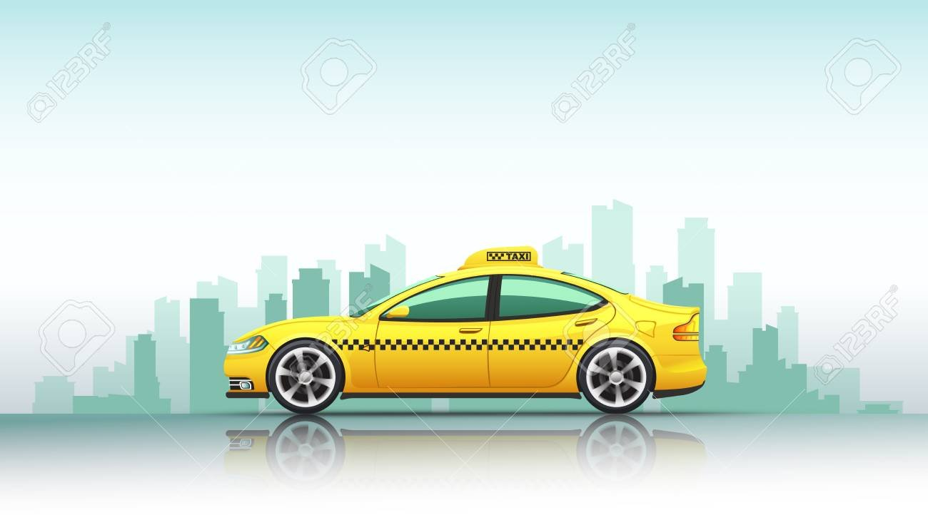 Illustration Of Taxi Car Isolated On A Urban Background Stock 1300x722