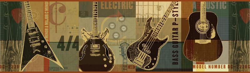 Rock Guitars Wallpaper Border BYR94281B rock band electric guitar 800x236