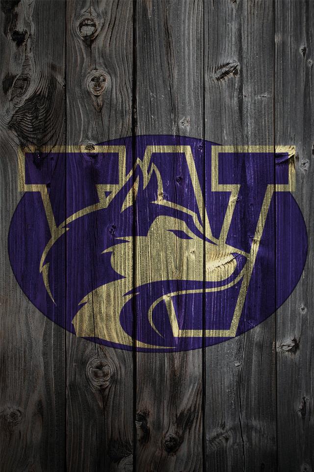 Washington Huskies Logo on Wood Background   iPhone 4 wallpaper 640x960